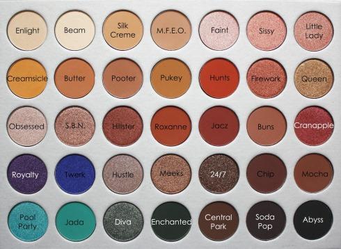 Morphe X Jaclyn Hill eyeshadow palette names